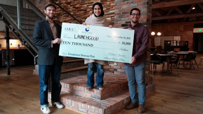 The LaunchGood Team after winning the Entrepreneur showcase at the American Muslim Consumer Conference.