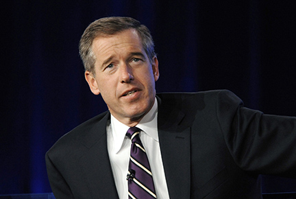 "REUTERS/Phil McCarten Brian Williams from ""NBC Nightly News"" answers a question during the panel for NBC News at the NBC Universal sessions of the Television Critics Association winter press tour in Pasadena, California in this January 10, 2010 file photo."