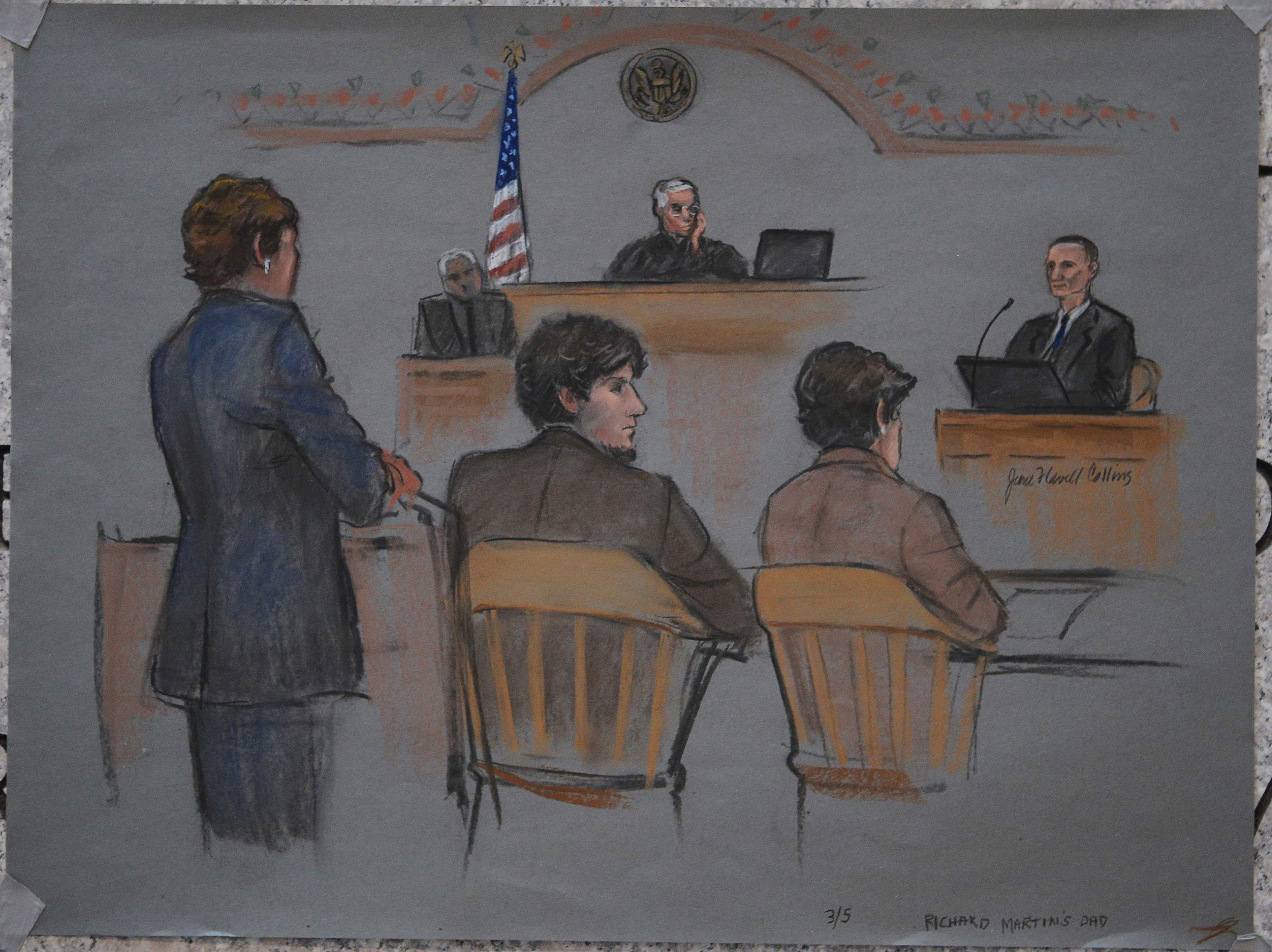 A courtroom sketch shows accused Boston Marathon bomber Dzhokhar Tsarnaev (c) and Judge George O' Toole (top) listening as bombing victim Richard Martin's father Bill (top right) testifies on the second day of Tsarnaev's trial at the federal courthouse in Boston, Massachusetts, March 5. Photo credit: Jane Flavell Collins / Reuters.
