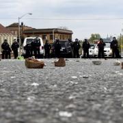 Bricks thrown by protests lie on Reisterstown Road in Baltimore April 27, 2015. Sait Serkan Gurbuz / Reuters
