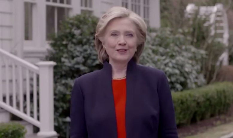 Screen grab of Hillary Clinton's candidacy video.
