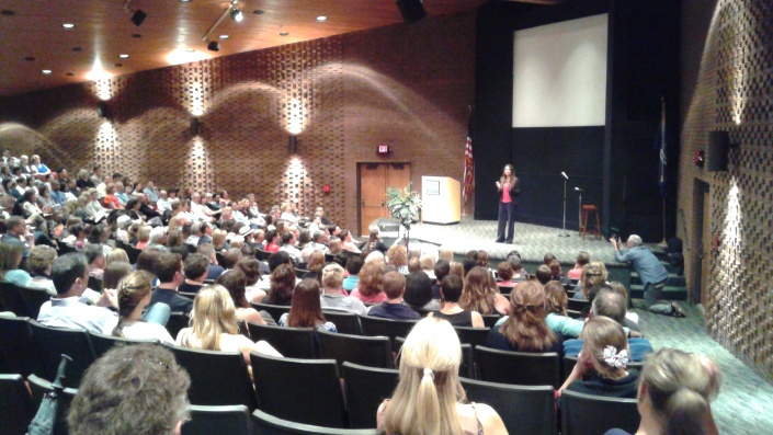 Dr. Shefali Tsabary speaks to an audience of parents in Troy.  Photo credit:  Adil james