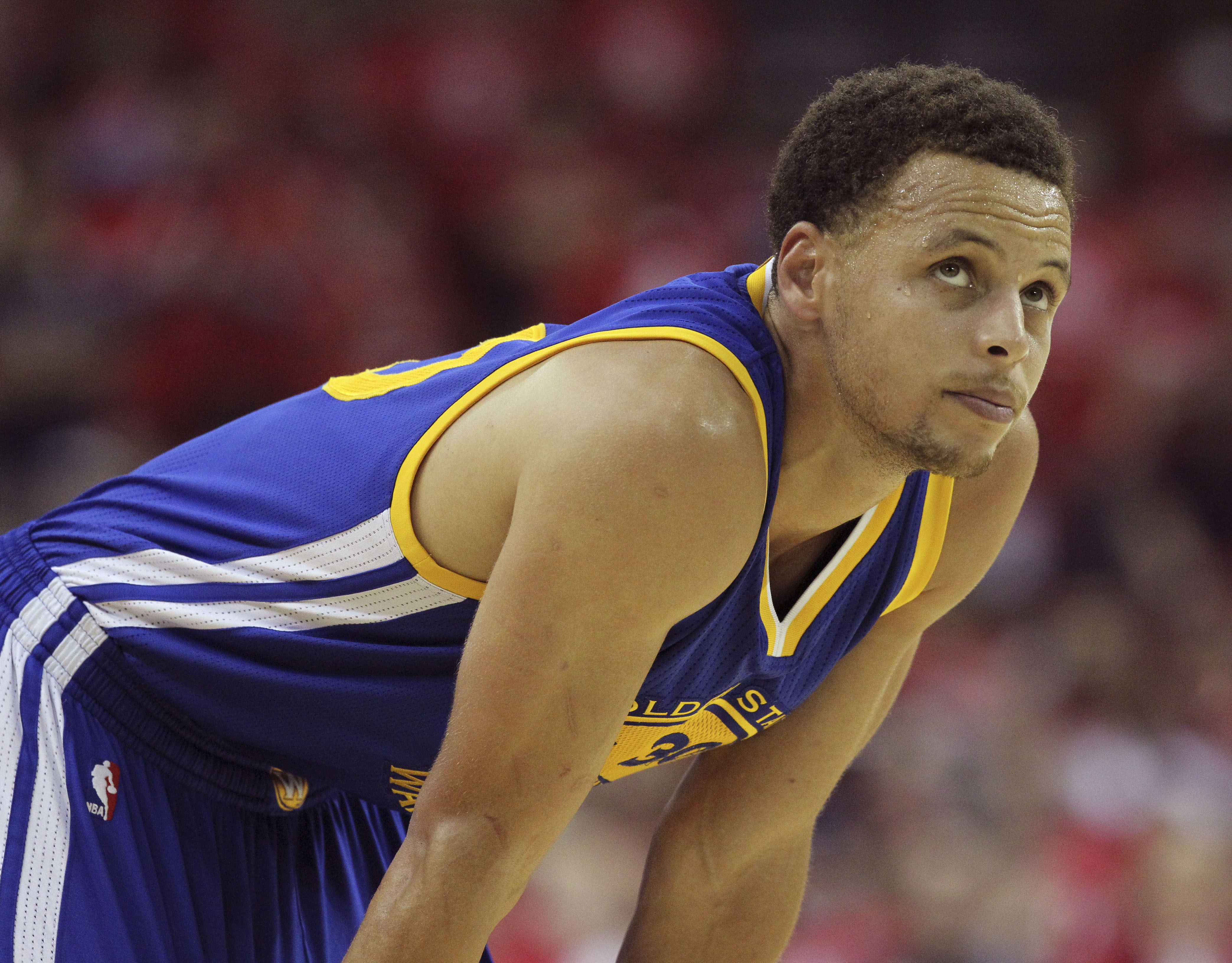 Golden State Warriors guard Stephen Curry takes a breather during the second half against the Houston Rocket in game four of the Western Conference Finals. Thomas B. Shea / USA TODAY Sports.
