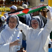 Nins in Bethlehem before Pope Francis celebrated Mass, May 25, 2014. Debbie Hill / Catholic News Service.