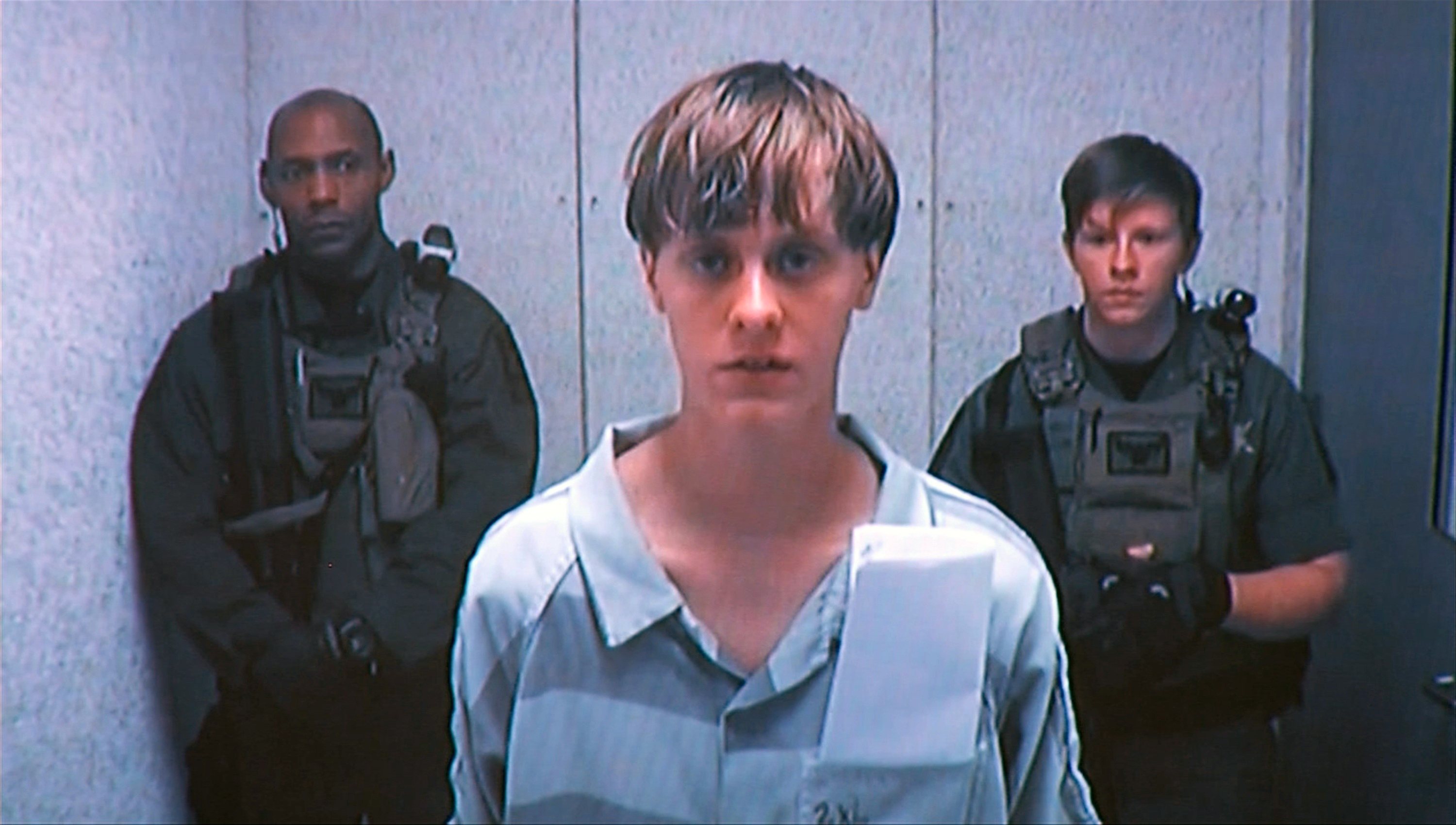 Dylann Storm Roof appears by closed-circuit televison at his bond hearing in Charleston