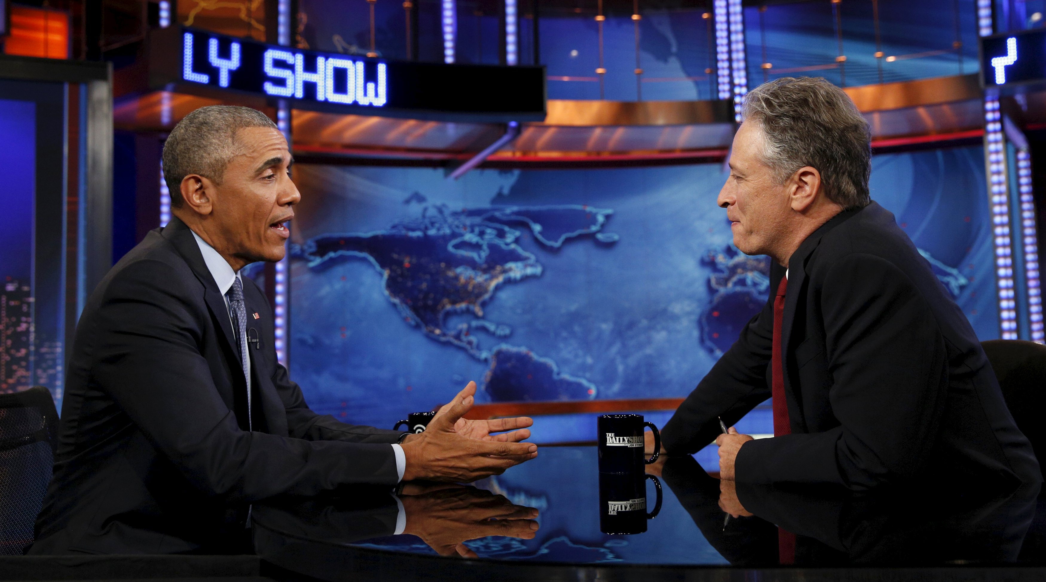 Obama appears on The Daily Show with Jon Stewart in New York