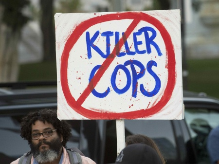"""A demonstration by """"Black Lives Matter"""" August 11 in Los Angeles. Phil McCarten / Reuters"""