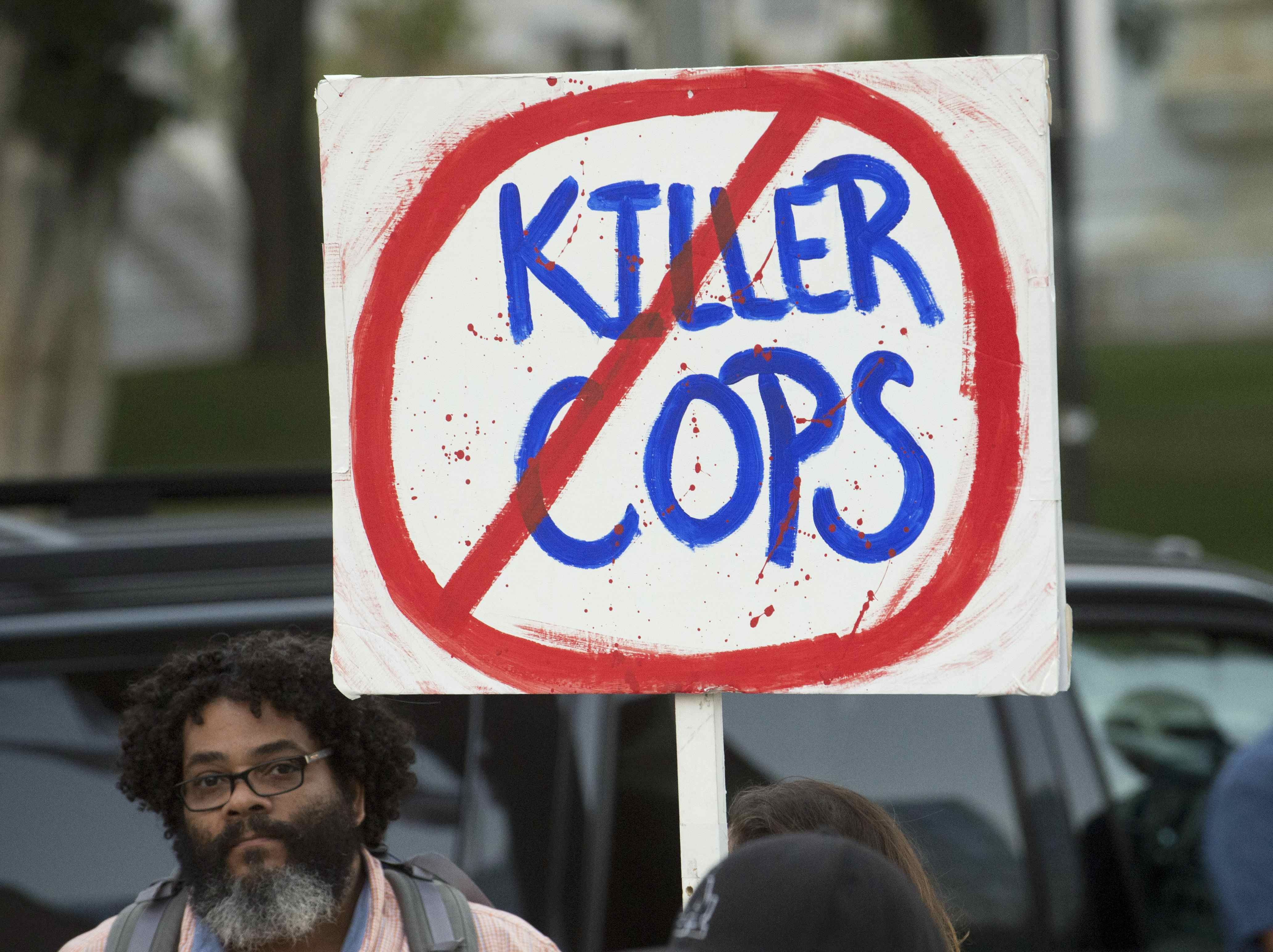"A demonstration by ""Black Lives Matter"" August 11 in Los Angeles. Phil McCarten / Reuters"