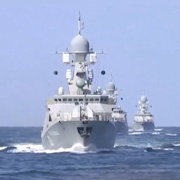 Russian warships are seen sailing in the Caspian Sea in this frame grab taken from footage released by Russia's Defence Ministry October 7. Ministry of Defence of the Russian Federation/Handout via Reuters