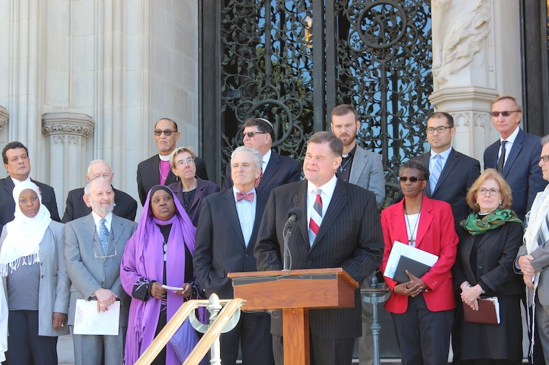 "Pastor Bob Roberts, who leads the evangelical Northwood Church in Keller, Texas, speaks on Oct. 23, 2015 along with other religious leaders who signed a pledge committing to defend religious freedom and reject religious bigotry. The ""Beyond Tolerance"" was held at the Washington National Cathedral. Religion News Service photo by Adelle M. Banks"