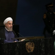 Iranian President Hassan Rouhani addresses attendees during the 70th session of the United Nations General Assembly at the U.N. headquarters in New York, September 28, 2015. Carlo Allegri / Reuters
