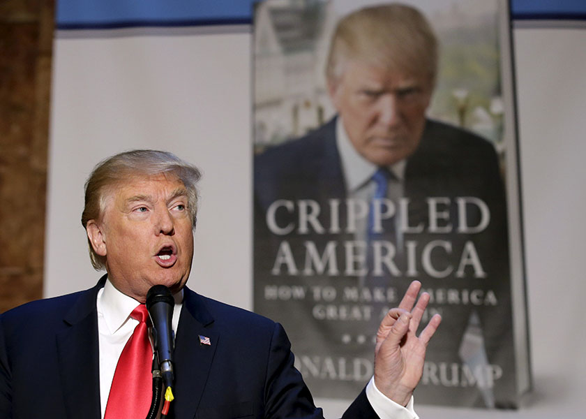 "Republican presidential candidate Donald Trump speaks at a news conference to promote his new book ""Crippled America"" in Manhattan, New York City, November 3, 2015.  REUTERS/Brendan Mcdermid"