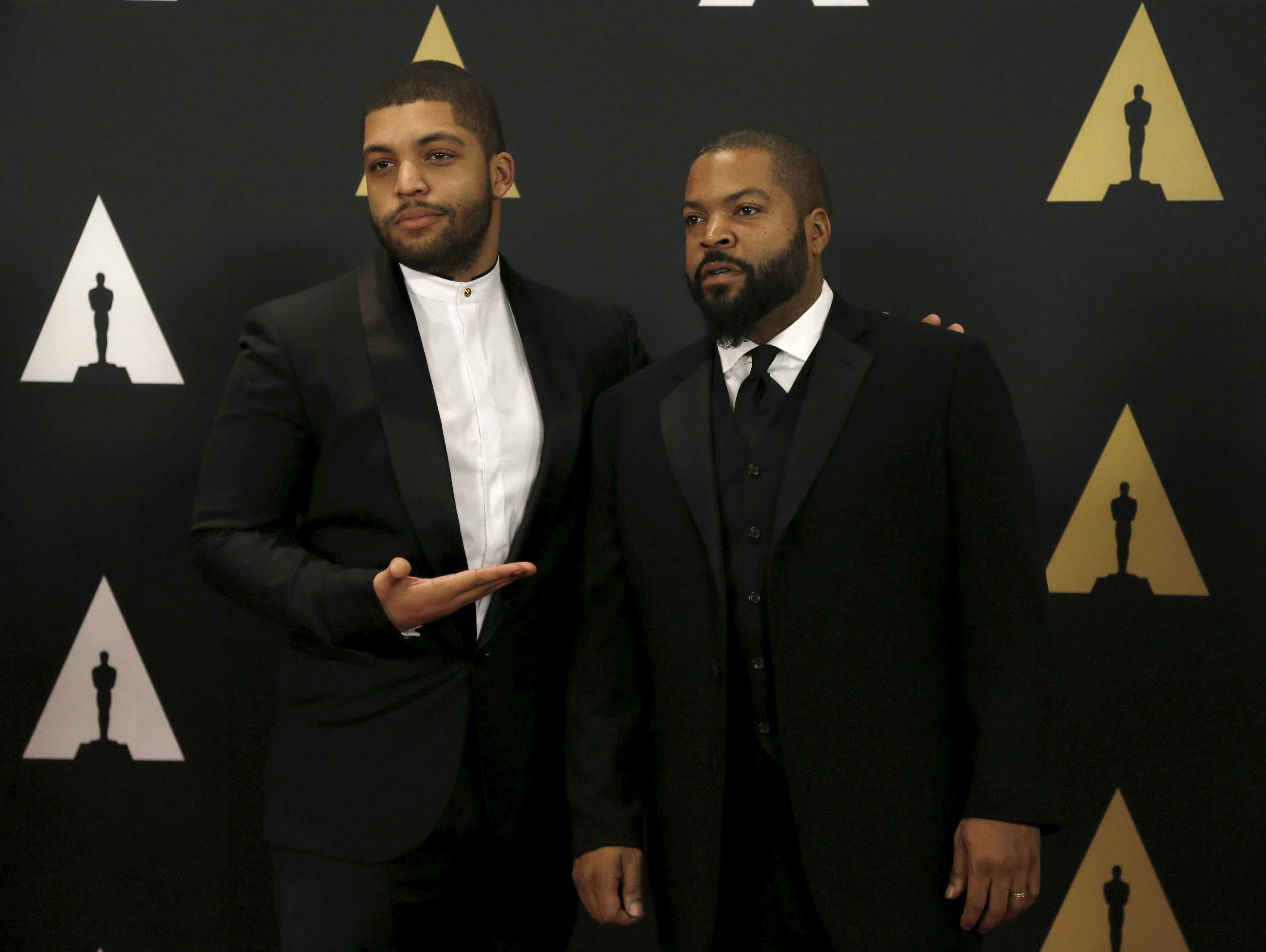 Ice Cube (R) and his son O'Shea Jackson, Jr. pose at the 7th Annual Academy of Motion Picture Arts and Sciences Governors Awards at The Ray Dolby Ballroom in Hollywood, California November 14, 2015. Ice Cube is a revert to Islam. Mario Anzuoni / Reuters