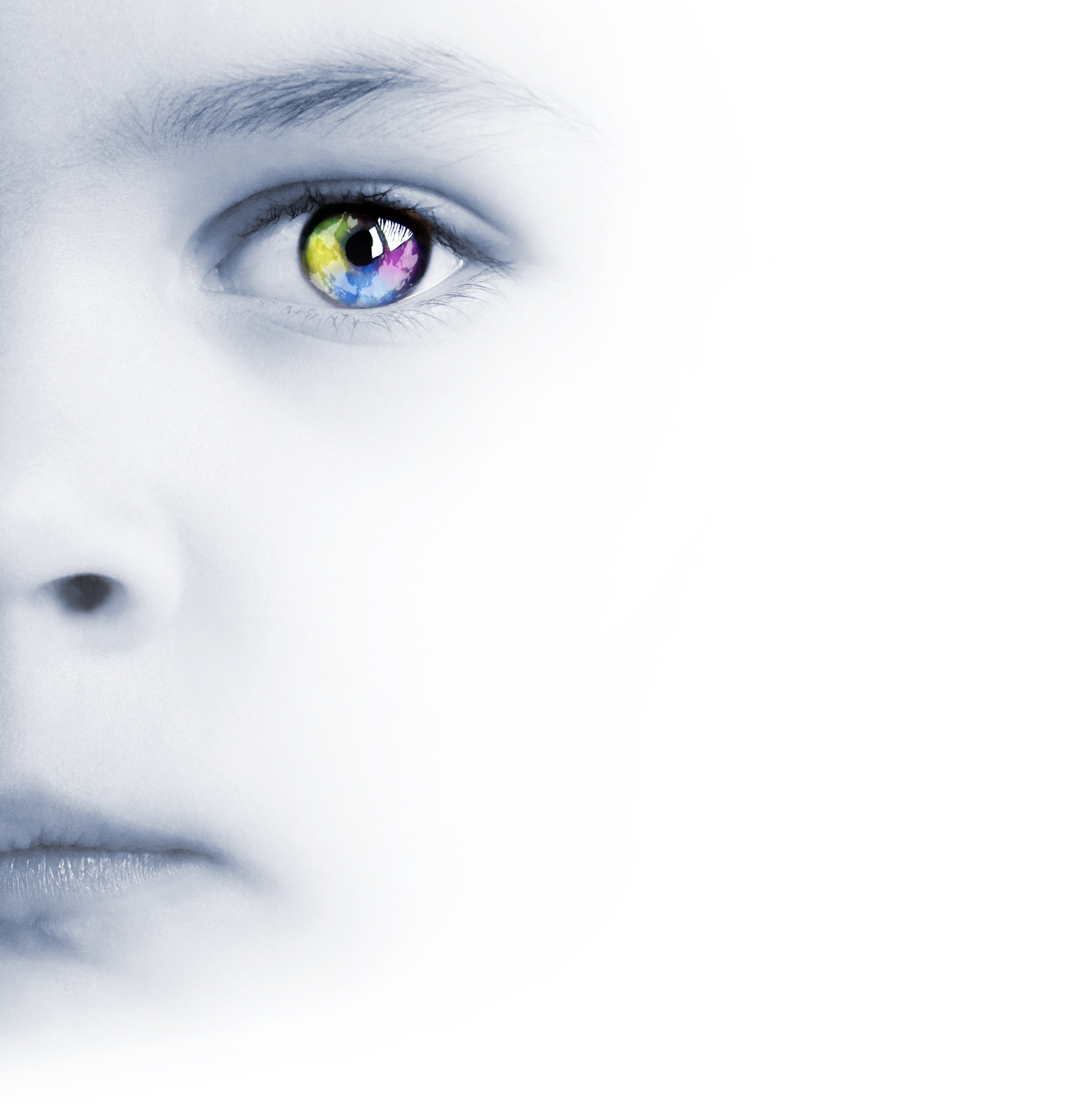 Child's face, colorful eye and map. Photo credit:  Photodune
