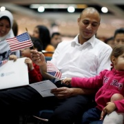 Editor's note Egyptian immigrants hold US flags at a naturalization ceremony in Los Angeles.Lucy Nicholson / Reuters