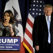 U.S. Republican presidential candidate Donald Trump (R) as Former Alaska Gov. Sarah Palin endorses him at a rally at Iowa State University in Ames, Iowa January 19, 2016. Mark Kauzlarich / Reuters