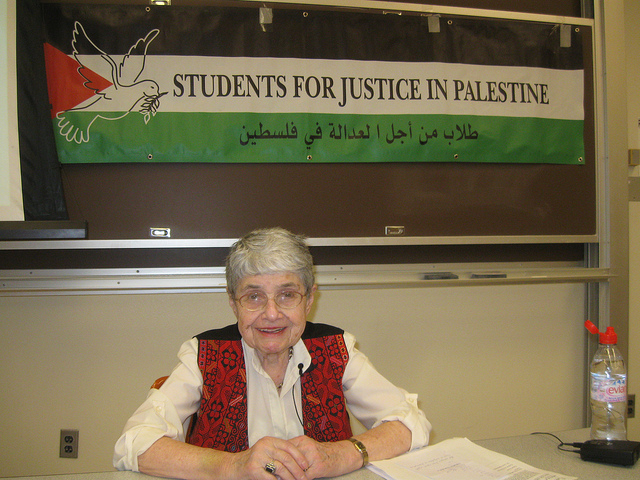 Hedy Epstein at ASU  Land Day Palestinian Event  / Photo courtesy https://www.flickr.com/photos/codepinkarizona/