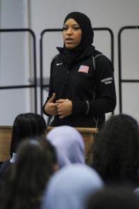 U.S. Fencing's Ibtihaj Muhammad talks to students