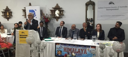 ICSOA launch and reception for Dr Nakadar at Himalaya restaurant. Mr. Abbas Raza Alvi on the podium, Dr Nakadar third from (L).